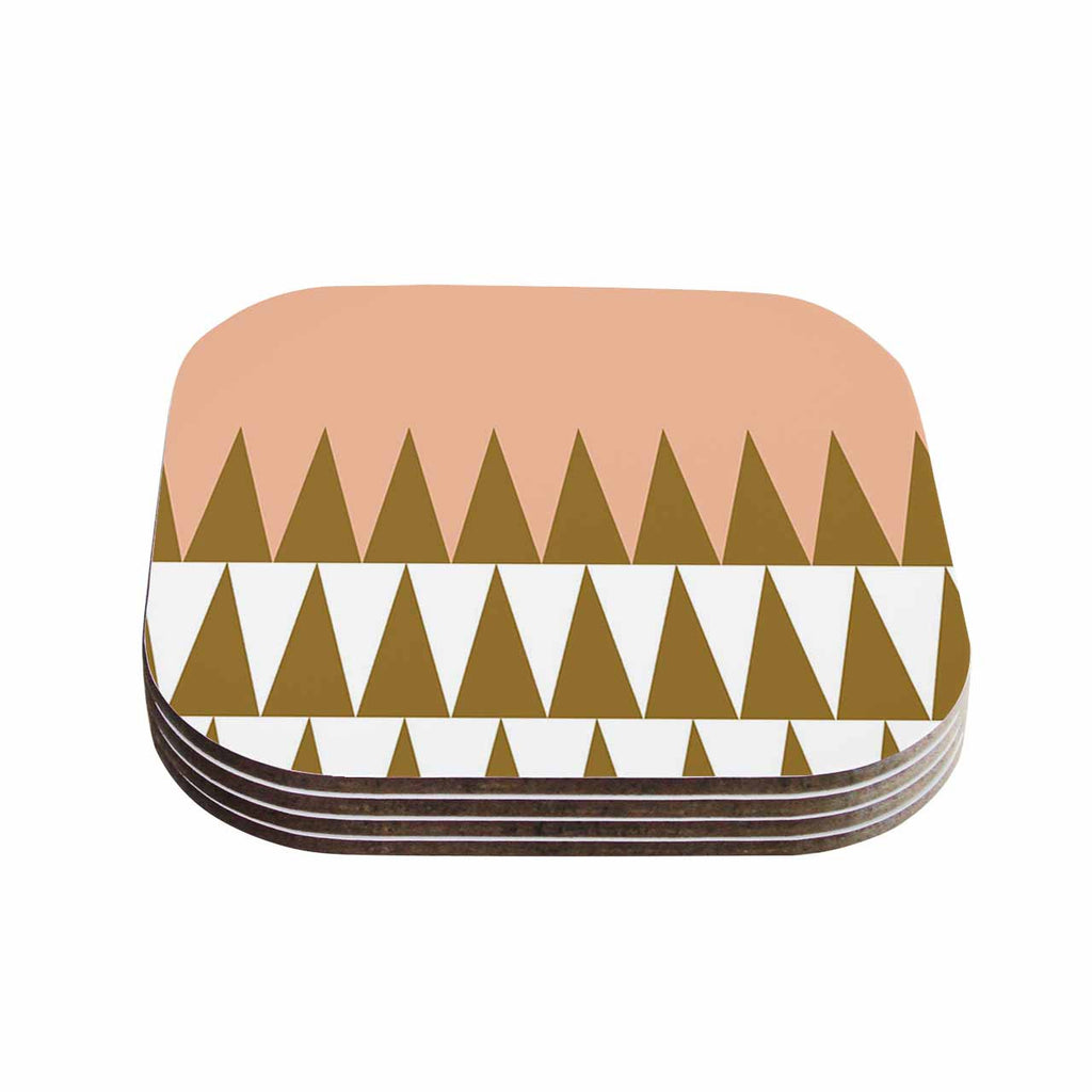 "Suzanne Carter ""Peach Geo"" Peach Black Coasters (Set of 4)"