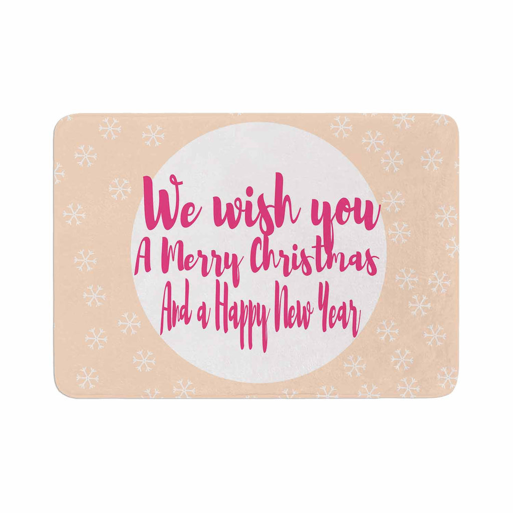 "Suzanne Carter ""Merry Chistmas & Happy New Year"" Peach Pink Memory Foam Bath Mat - KESS InHouse"