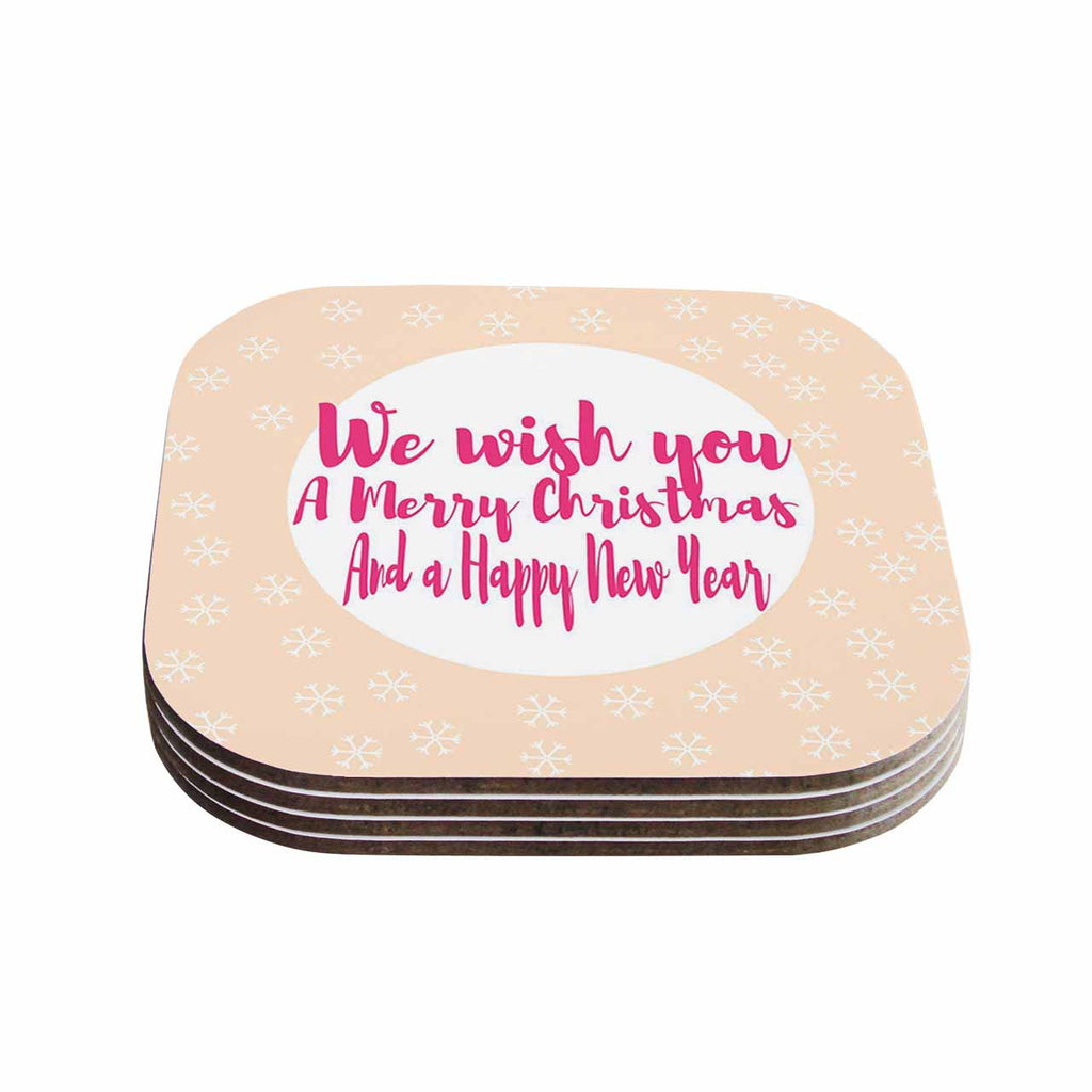 "Suzanne Carter ""Merry Chistmas & Happy New Year"" Peach Pink Coasters (Set of 4)"