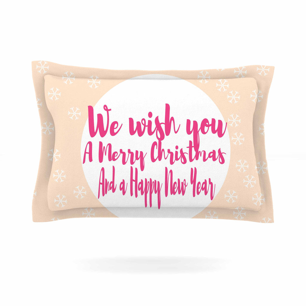 "Suzanne Carter ""Merry Chistmas & Happy New Year"" Peach Pink Pillow Sham - KESS InHouse  - 1"