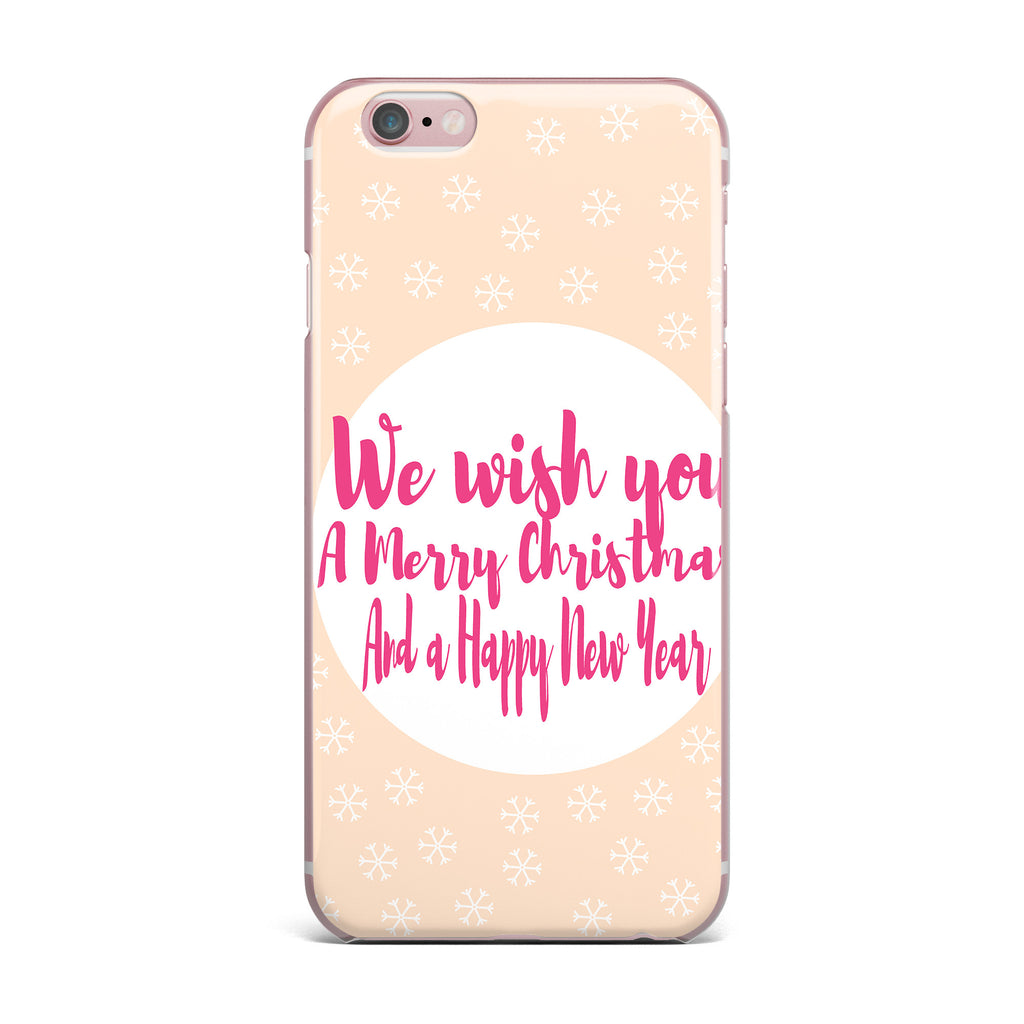 "Suzanne Carter ""Merry Chistmas & Happy New Year"" Peach Pink iPhone Case - KESS InHouse"