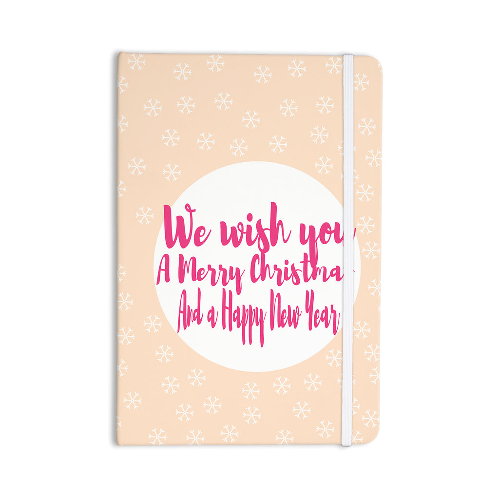 "Suzanne Carter ""Merry Chistmas & Happy New Year"" Peach Pink Everything Notebook - KESS InHouse  - 1"
