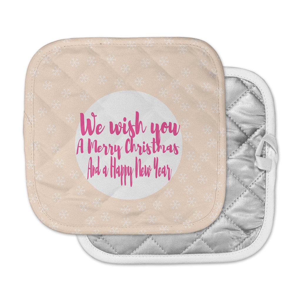 "Suzanne Carter ""Merry Chistmas & Happy New Year"" Peach Pink Pot Holder"