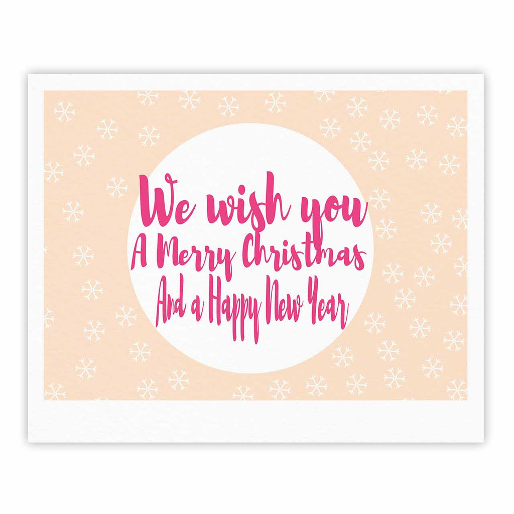 "Suzanne Carter ""Merry Chistmas & Happy New Year"" Peach Pink Fine Art Gallery Print - KESS InHouse"
