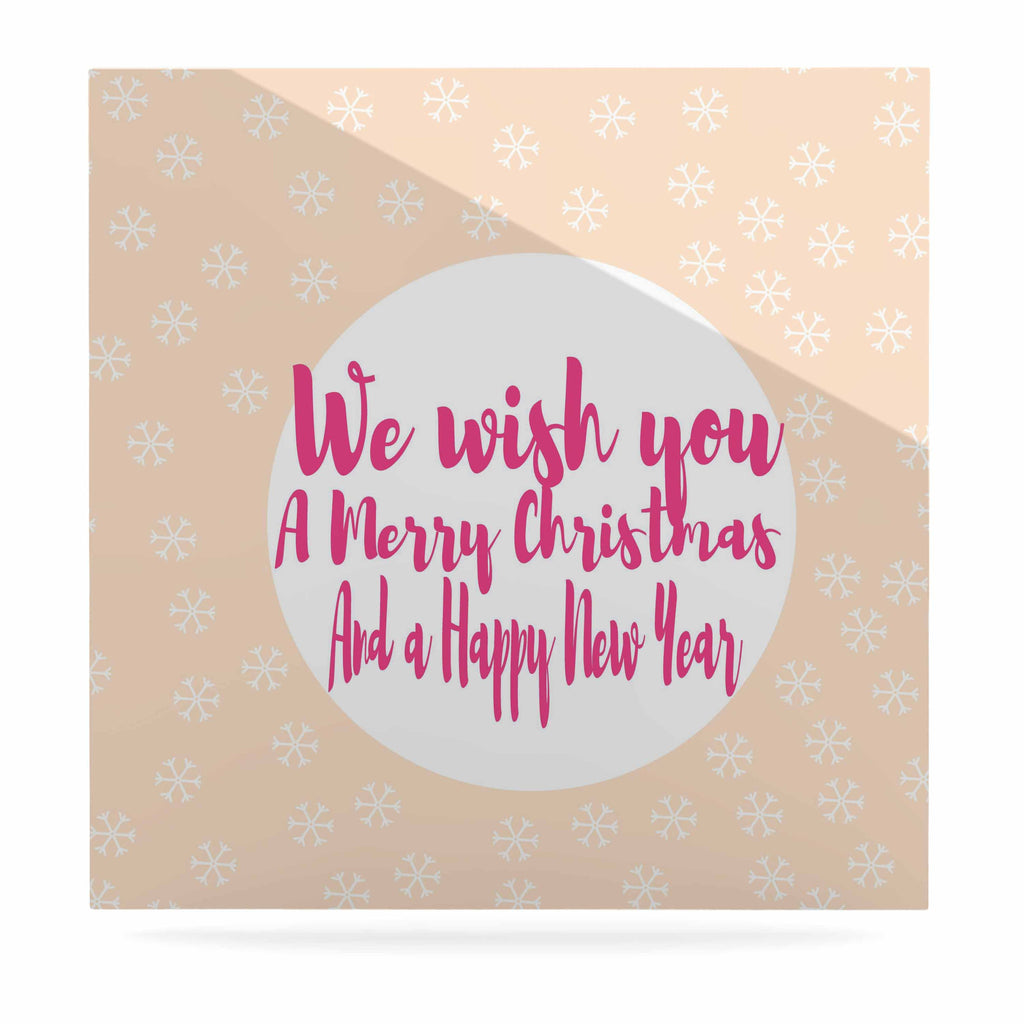 "Suzanne Carter ""Merry Chistmas & Happy New Year"" Peach Pink Luxe Square Panel - KESS InHouse  - 1"
