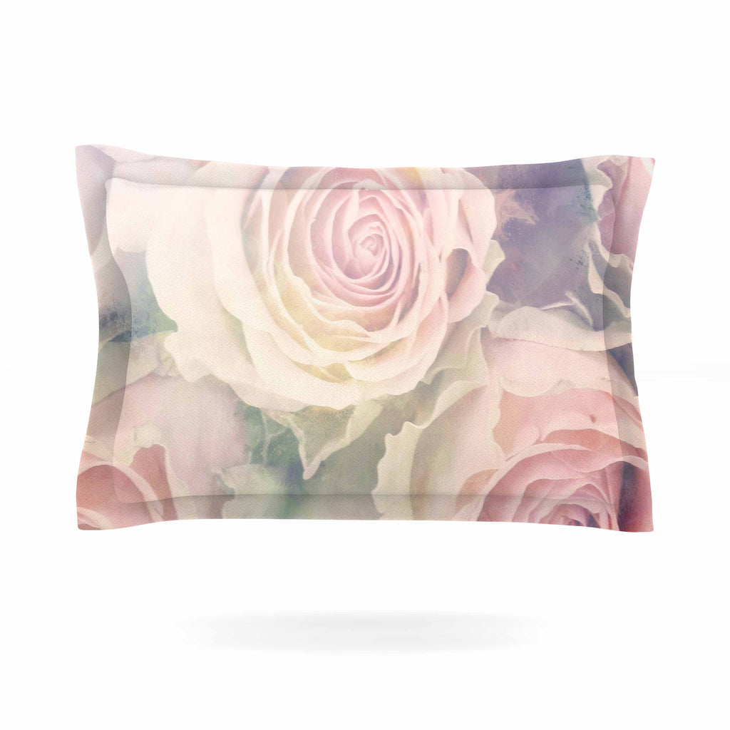 "Suzanne Carter ""Faded Beauty"" Blush Floral Pillow Sham - KESS InHouse  - 1"