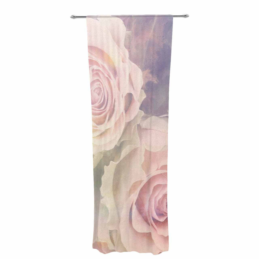 "Suzanne Carter ""Faded Beauty"" Blush Floral Decorative Sheer Curtain - KESS InHouse  - 1"