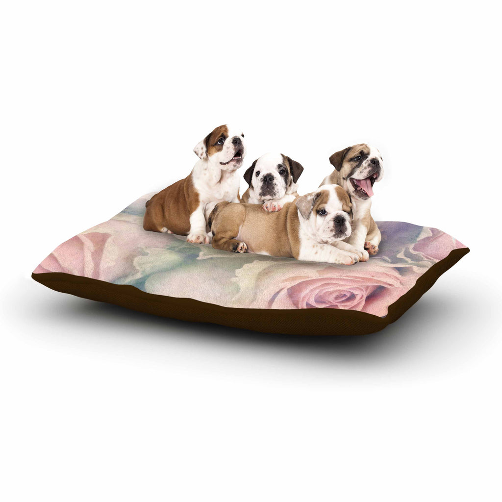 "Suzanne Carter ""Faded Beauty"" Blush Floral Dog Bed - KESS InHouse  - 1"
