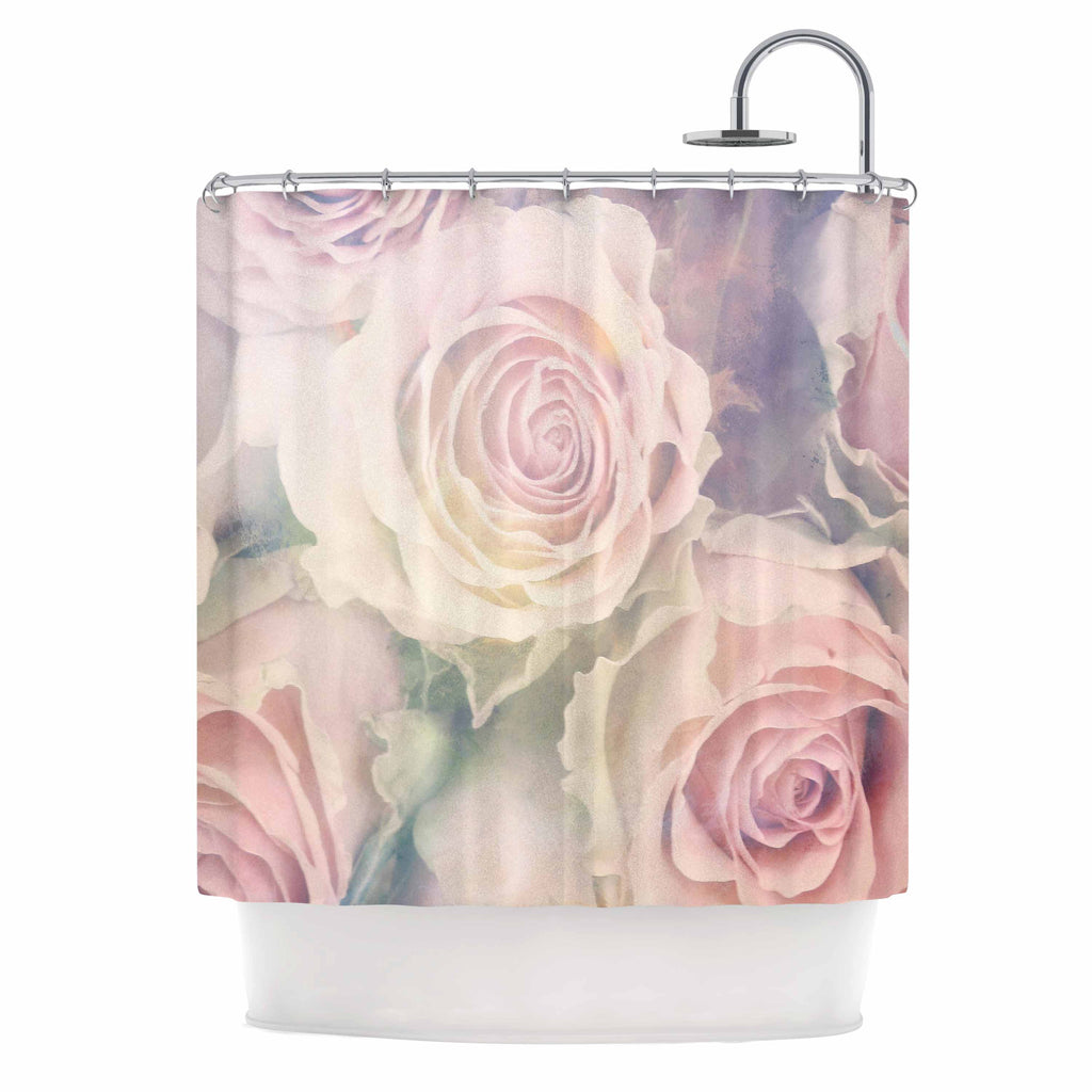 "Suzanne Carter ""Faded Beauty"" Blush Floral Shower Curtain - KESS InHouse"