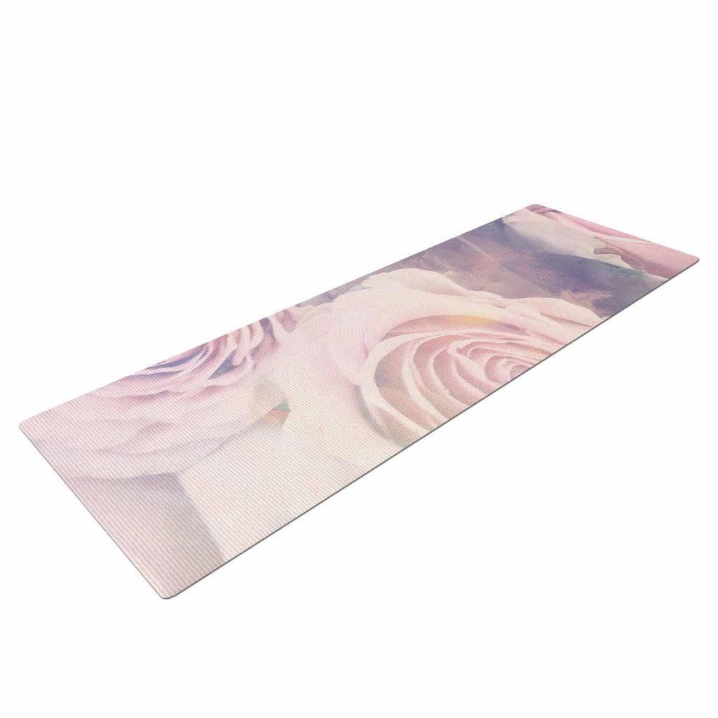 "Suzanne Carter ""Faded Beauty"" Blush Floral Yoga Mat - KESS InHouse  - 1"