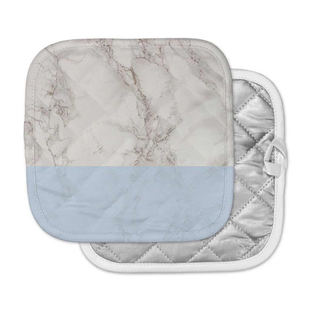 "Suzanne Carter ""Marble And Blue Block"" Modern Gray Pot Holder"