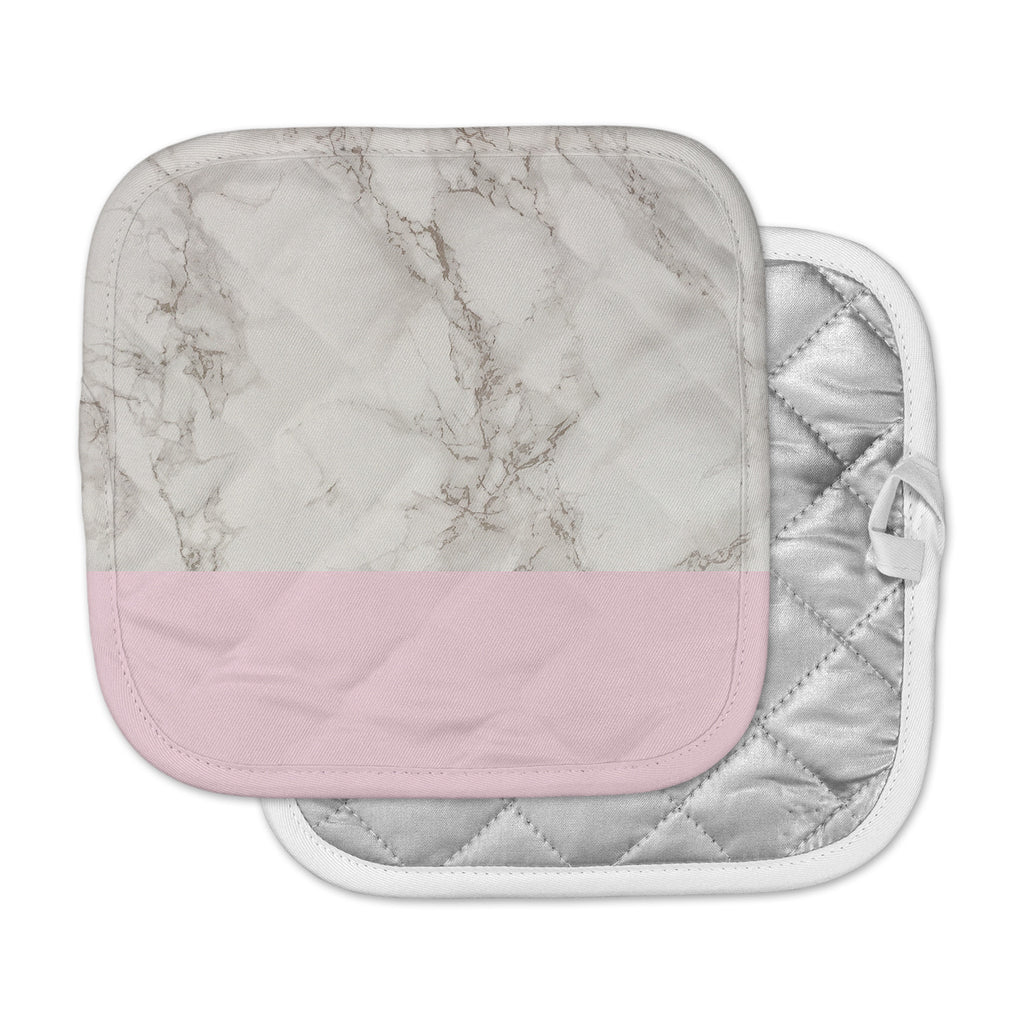 "Suzanne Carter ""Marble And Pink Block"" Modern Contemporary Pot Holder"
