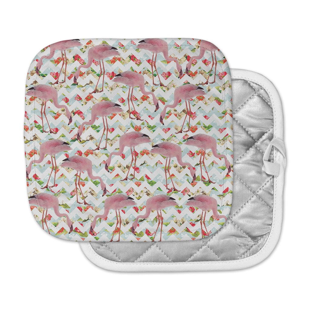 "Suzanne Carter ""Flamingo Chevron & Roses"" Pink Digital Pot Holder"