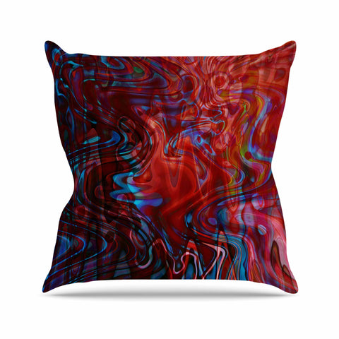 "Suzanne Carter ""Flow"" Red Blue Outdoor Throw Pillow - Outlet Item"