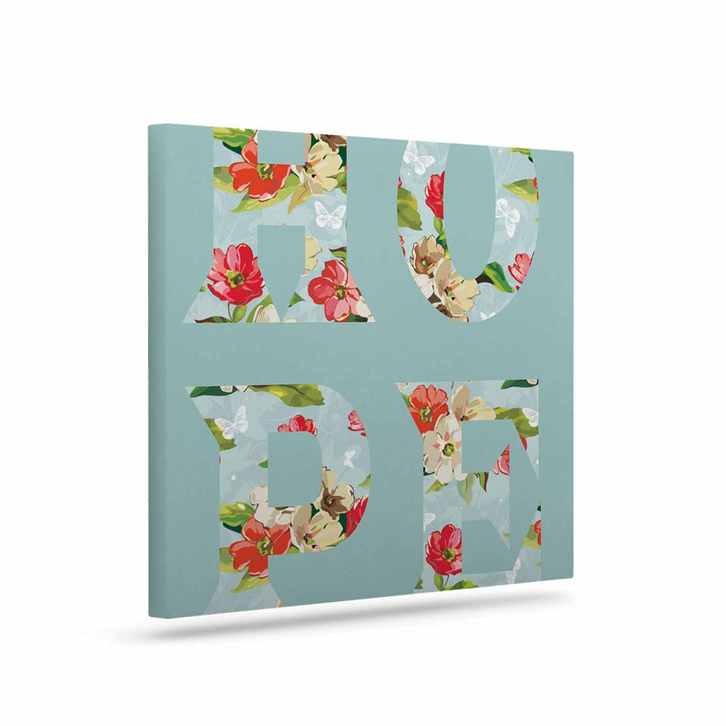 "Suzanne Carter ""Hope"" Green Floral Canvas Art - KESS InHouse  - 1"