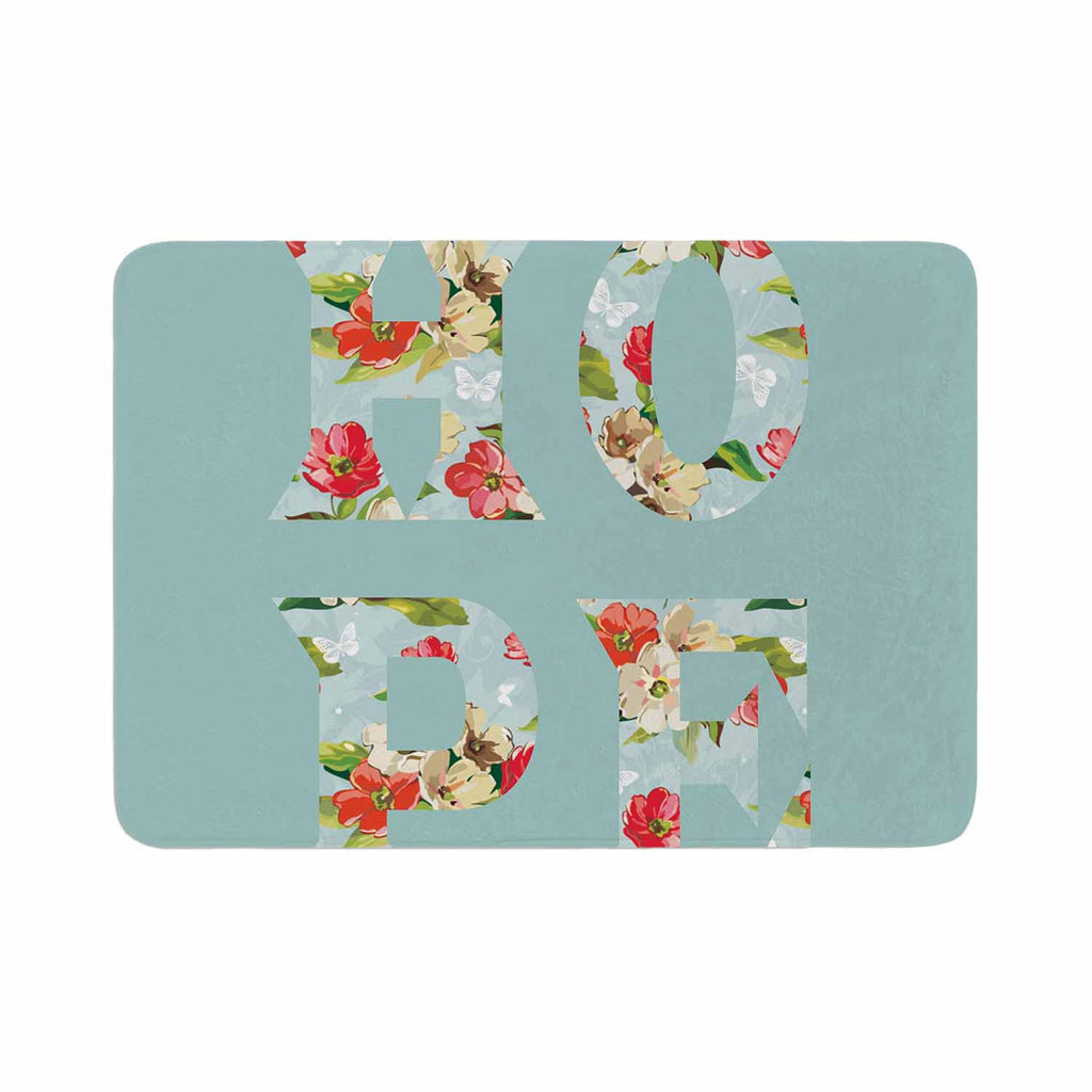 "Suzanne Carter ""Hope"" Green Floral Memory Foam Bath Mat - KESS InHouse"