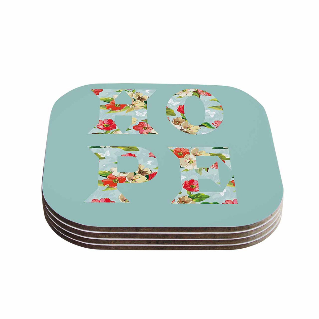 "Suzanne Carter ""Hope"" Green Floral Coasters (Set of 4)"