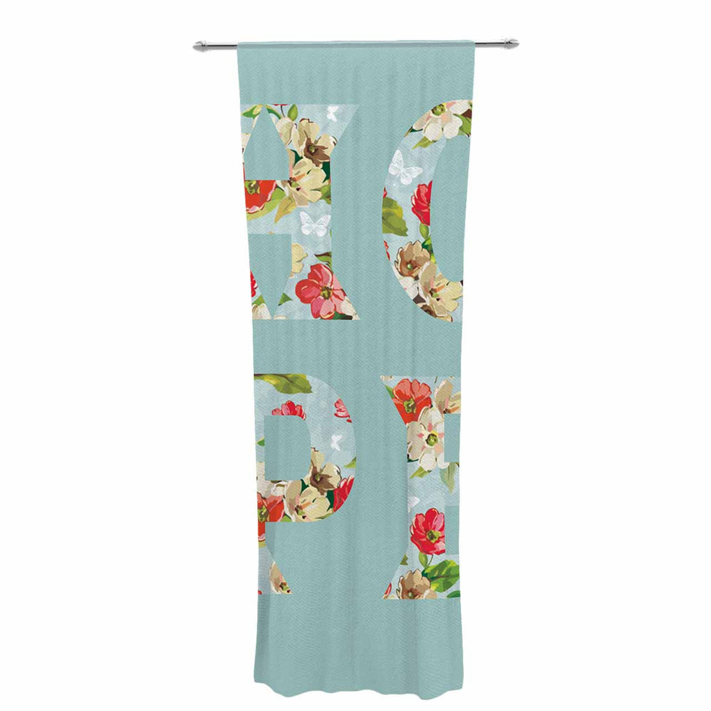 "Suzanne Carter ""Hope"" Green Floral Decorative Sheer Curtain - KESS InHouse  - 1"