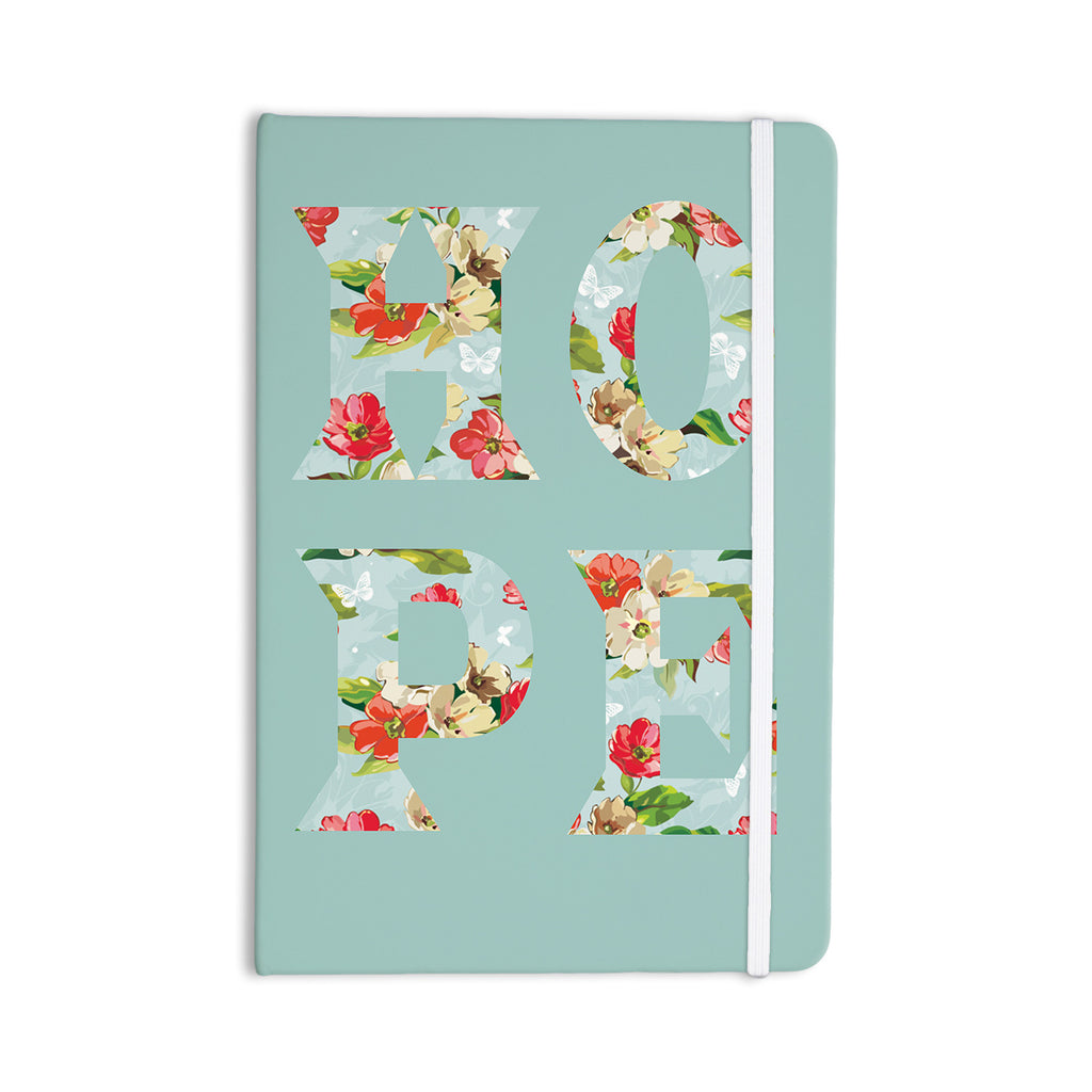"Suzanne Carter ""Hope"" Green Floral Everything Notebook - KESS InHouse  - 1"