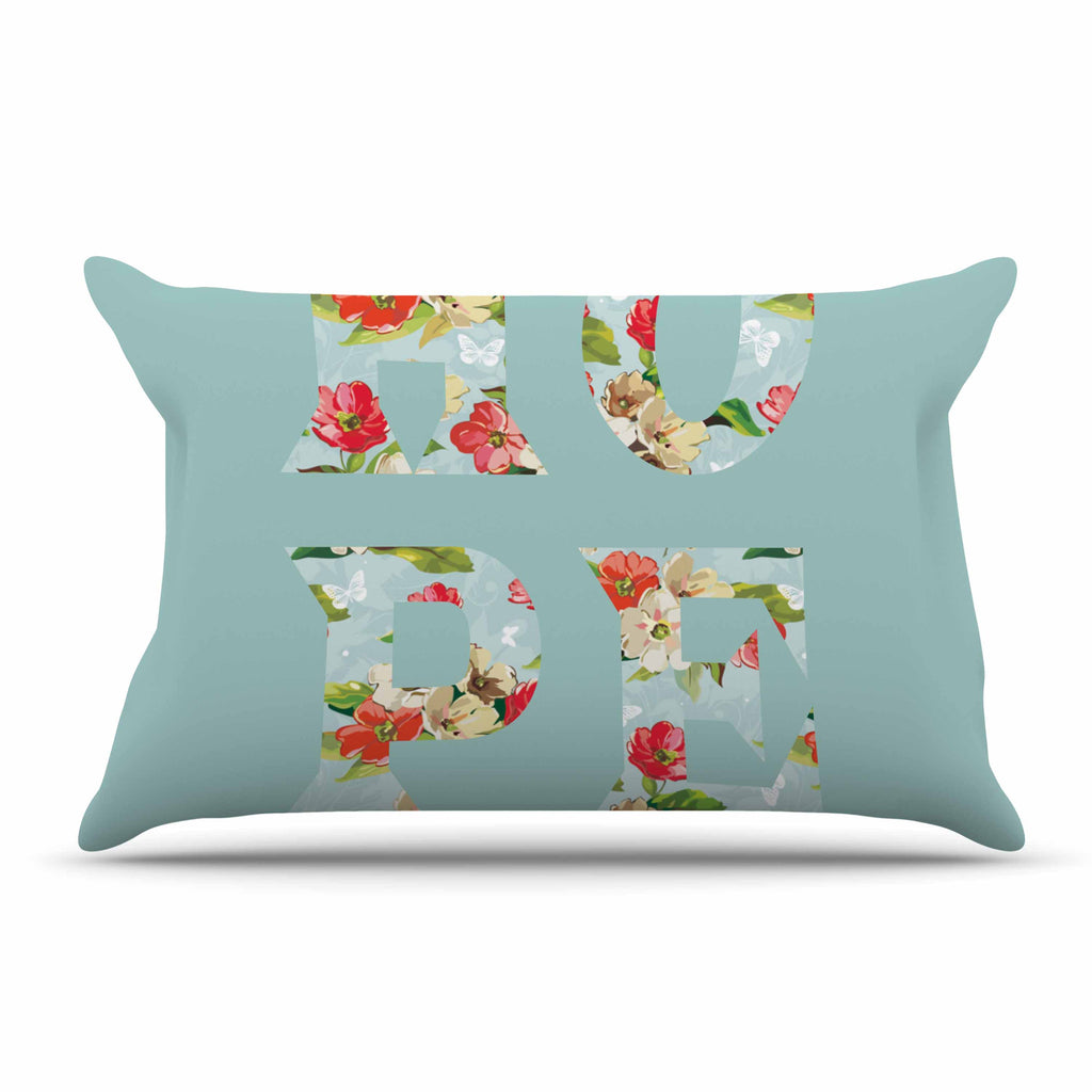 "Suzanne Carter ""Hope"" Green Floral Pillow Sham - KESS InHouse  - 1"