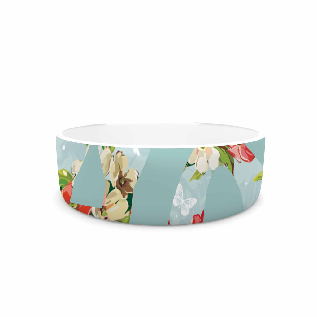 "Suzanne Carter ""Hope"" Green Floral Pet Bowl - KESS InHouse"