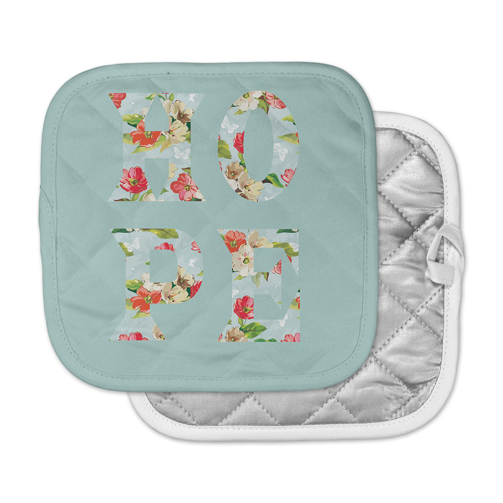 "Suzanne Carter ""Hope"" Green Floral Pot Holder"