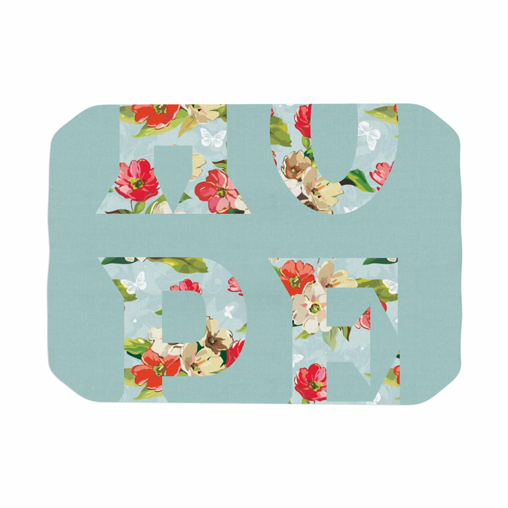 "Suzanne Carter ""Hope"" Green Floral Place Mat - KESS InHouse"