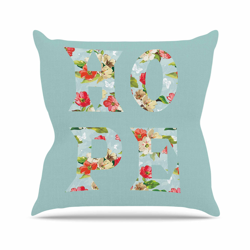 "Suzanne Carter ""Hope"" Green Floral Outdoor Throw Pillow - KESS InHouse  - 1"