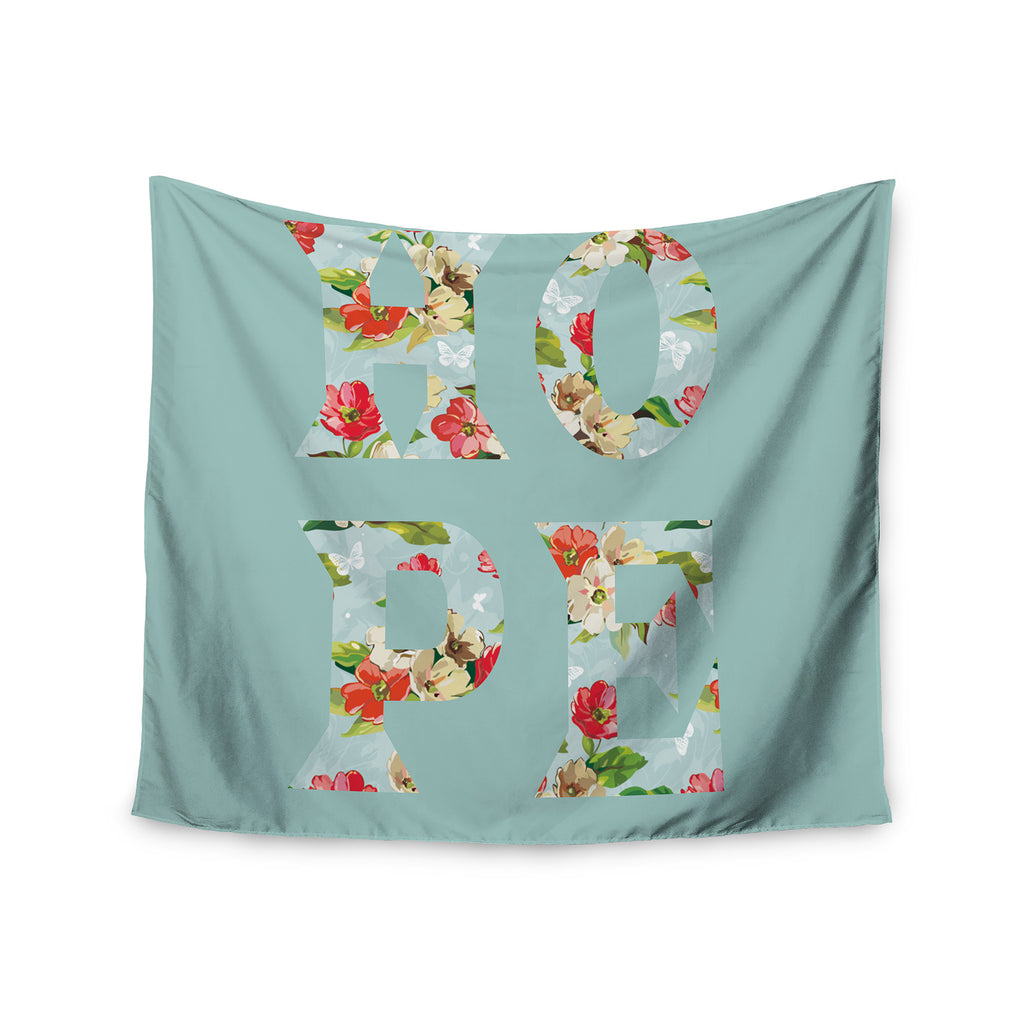 "Suzanne Carter ""Hope"" Green Floral Wall Tapestry - KESS InHouse  - 1"