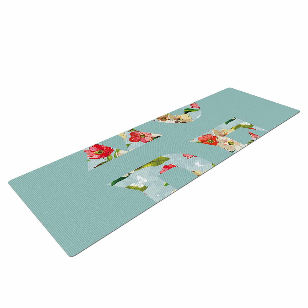 "Suzanne Carter ""Hope"" Green Floral Yoga Mat - KESS InHouse  - 1"