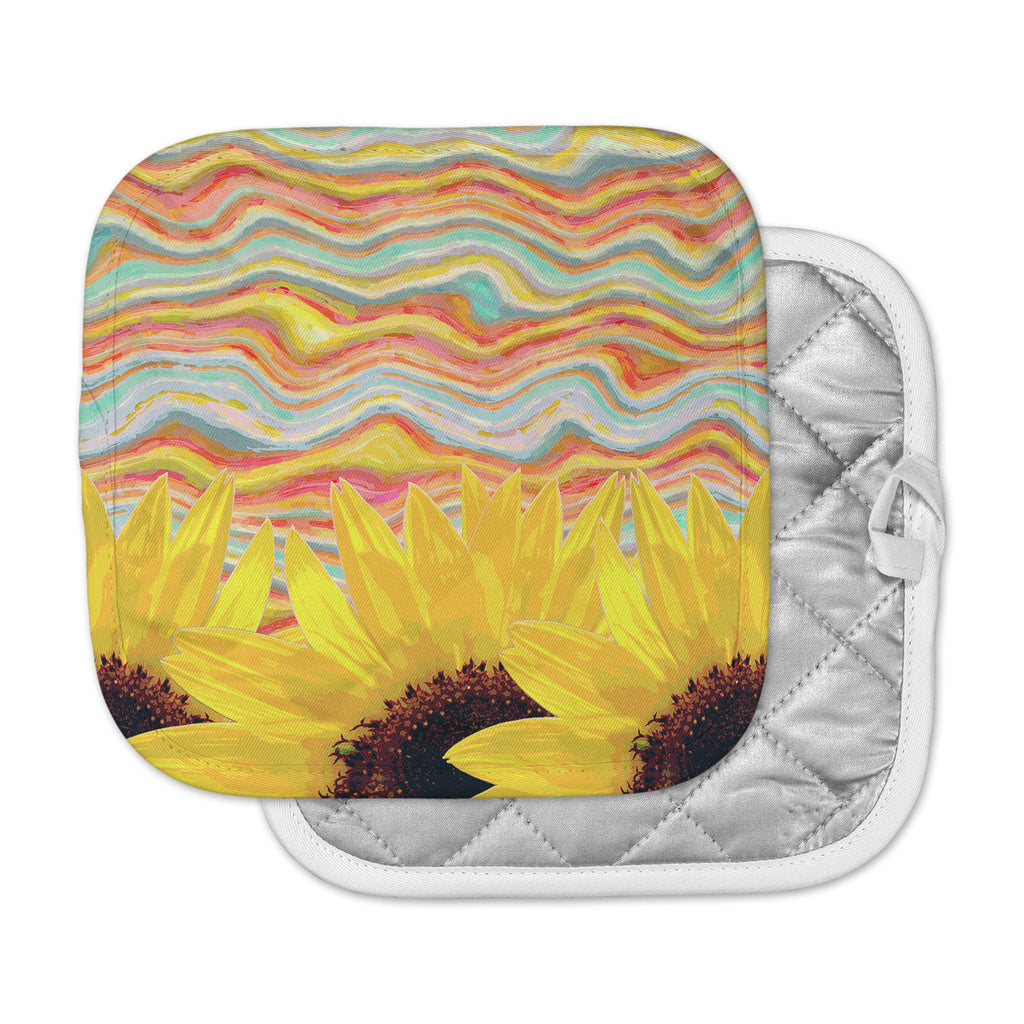 "Suzanne Carter ""Sunflower Dreaming "" Yelllow Teal Pot Holder"