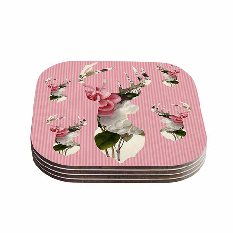 "Suzanne Carter ""Floral Deer"" Pink White Coasters (Set of 4) - Outlet Item"