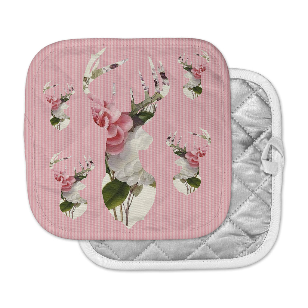 "Suzanne Carter ""Floral Deer"" Pink White Pot Holder"