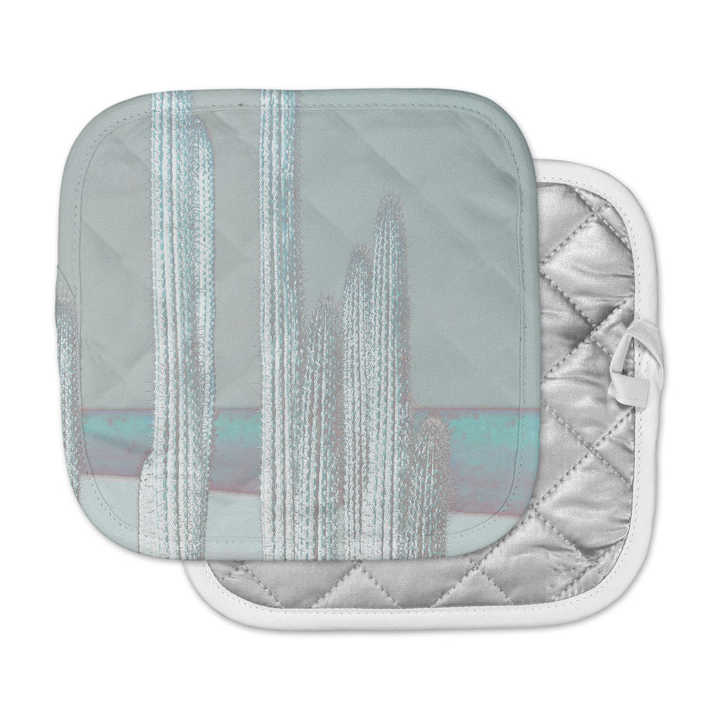 "Suzanne Carter ""Cactus-Blue"" Blue Gray Digital Pot Holder"