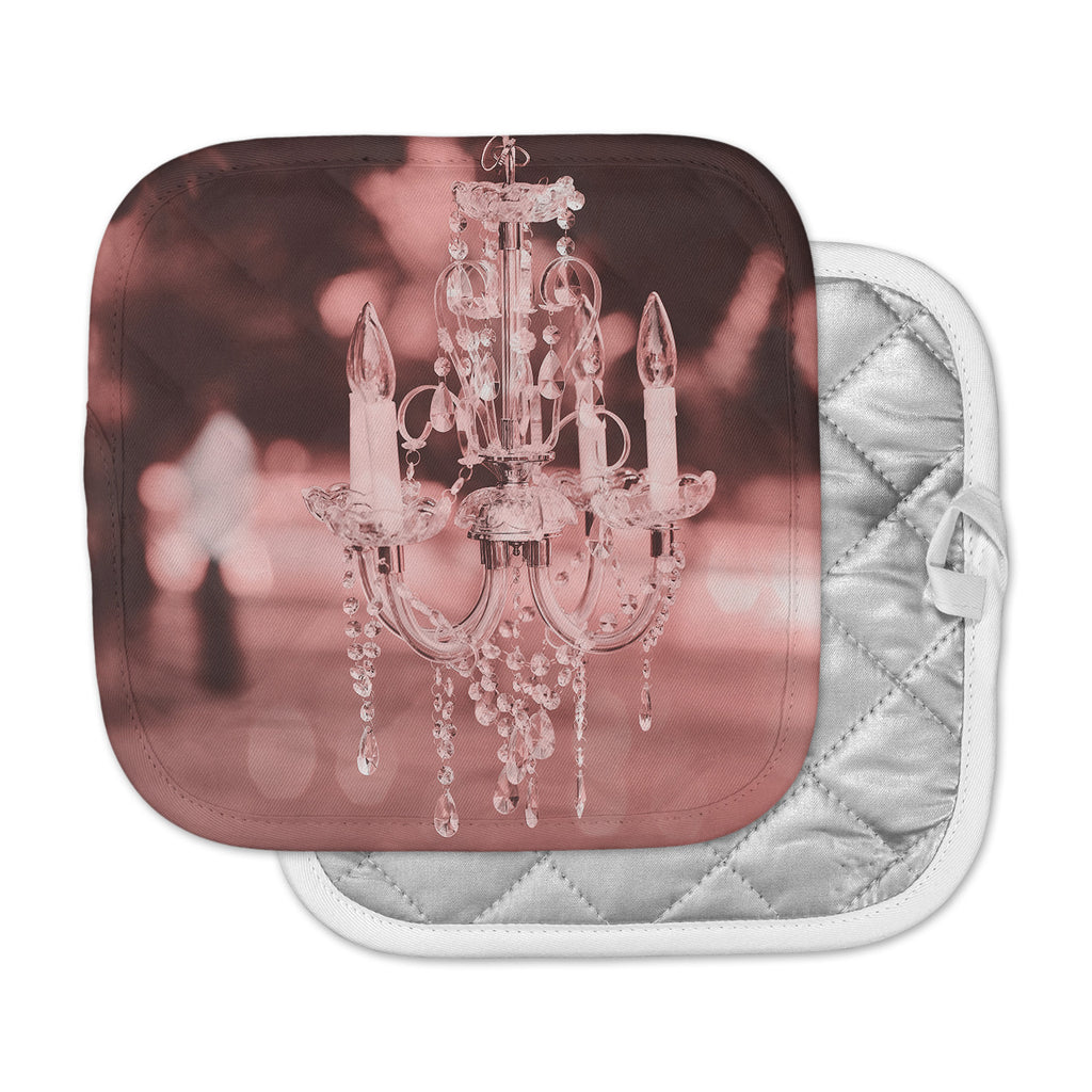 "Suzanne Carter ""Pink Chandelier"" Pink Red Digital Pot Holder"