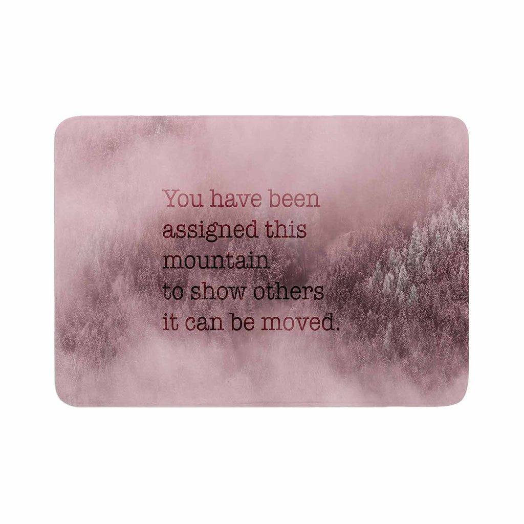 "Suzanne Carter ""Mountain"" Pink Digital Typography Memory Foam Bath Mat"