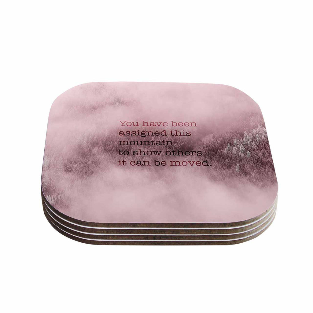 "Suzanne Carter ""Mountain"" Pink Digital Typography Coasters (Set of 4)"