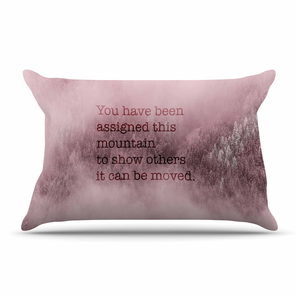 "Suzanne Carter ""Mountain"" Pink Digital Typography Pillow Sham"