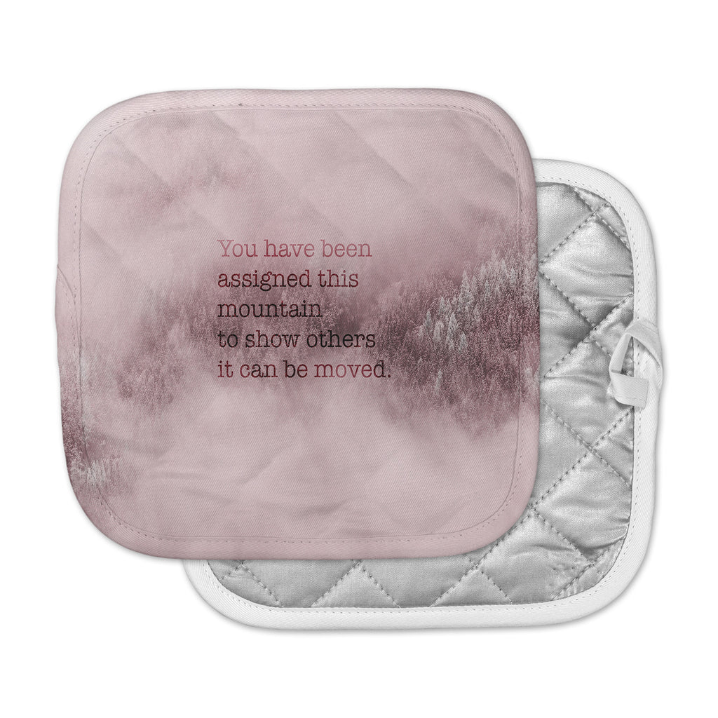 "Suzanne Carter ""Mountain"" Pink Digital Typography Pot Holder"