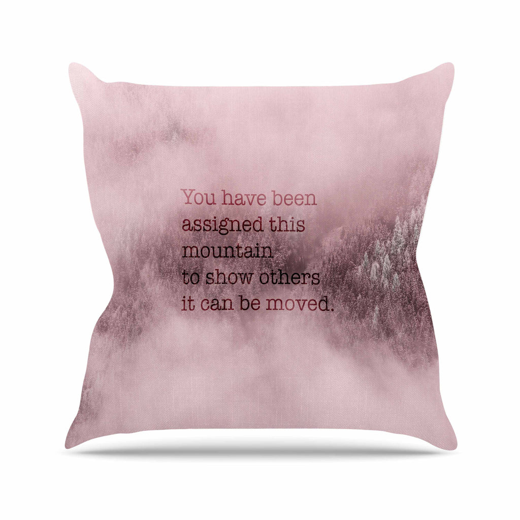 "Suzanne Carter ""Mountain"" Pink Digital Typography Outdoor Throw Pillow"