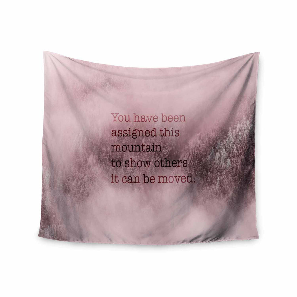 "Suzanne Carter ""Mountain"" Pink Digital Typography Wall Tapestry - KESS InHouse  - 1"