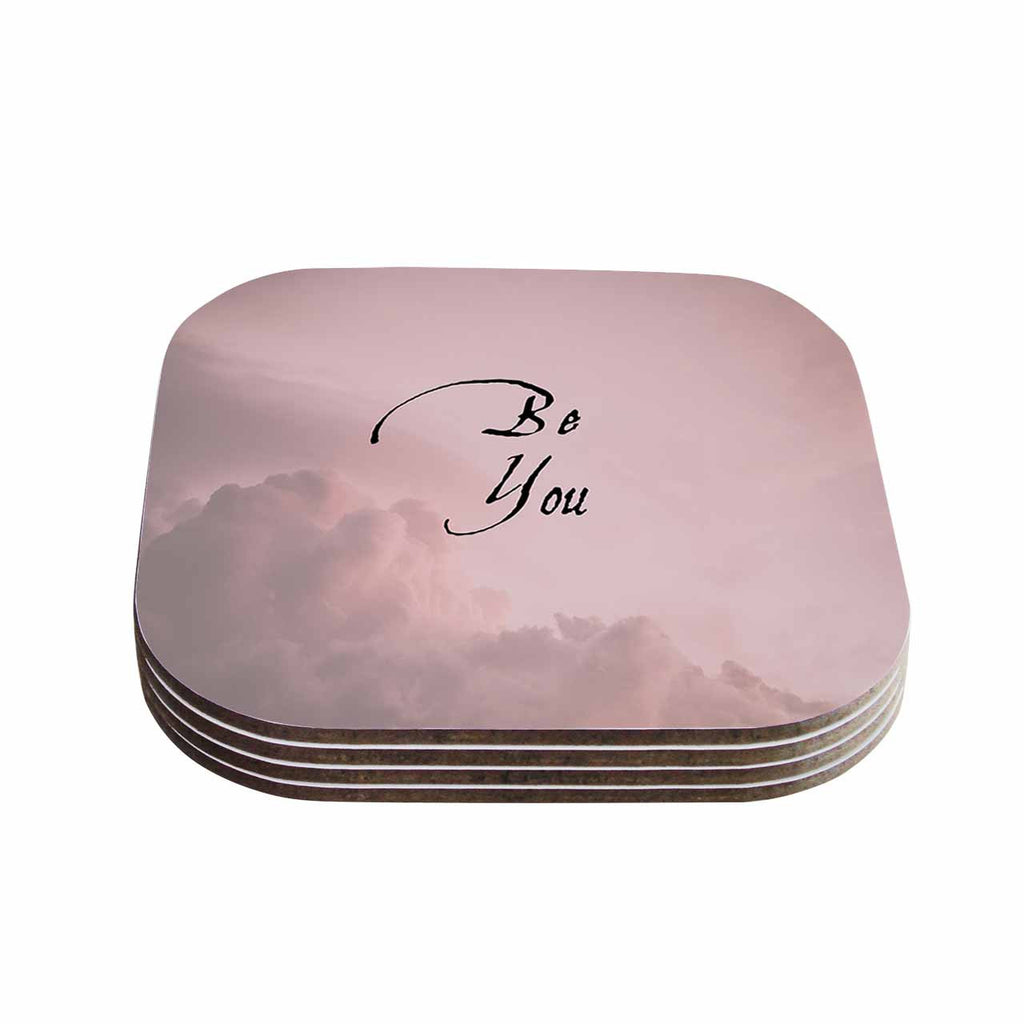 "Suzanne Carter ""Be You"" Pink Digital Typography Coasters (Set of 4)"