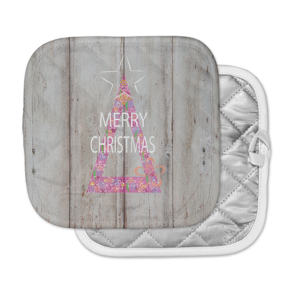 "Suzanne Carter ""Merry Christmas Tree"" Pink Holiday Mixed Media Pot Holder"