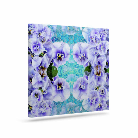 "Suzanne Carter ""Lilac"" Black Floral Abstract Digital Mixed Media Art Canvas"