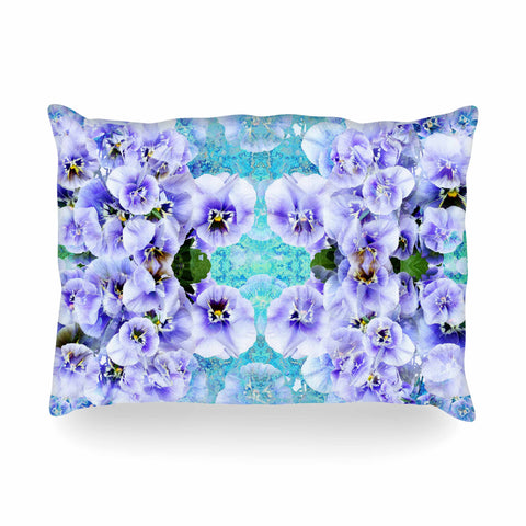 "Suzanne Carter ""Lilac"" Black Floral Abstract Digital Mixed Media Oblong Pillow"
