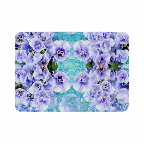 "Suzanne Carter ""Lilac"" Black Floral Abstract Digital Mixed Media Memory Foam Bath Mat"