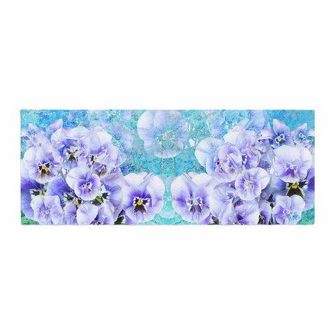 "Suzanne Carter ""Lilac"" Black Floral Abstract Digital Mixed Media Bed Runner"