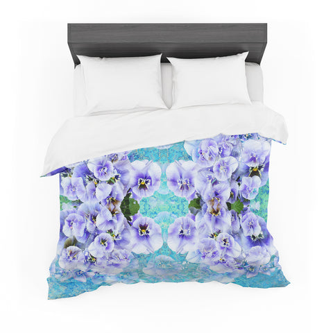 "Suzanne Carter ""Lilac"" Black Floral Abstract Digital Mixed Media Featherweight Duvet Cover"