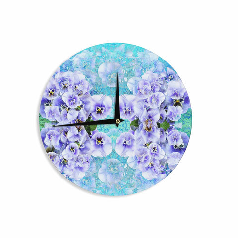 "Suzanne Carter ""Lilac"" Black Floral Abstract Digital Mixed Media Wall Clock"