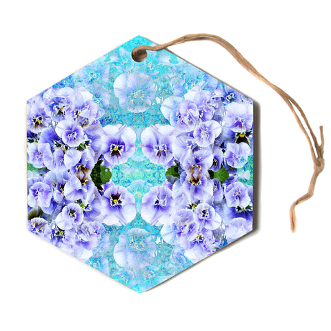 "Suzanne Carter ""Lilac"" Black Floral Abstract Digital Mixed Media Hexagon Holiday Ornament"